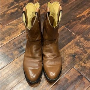 Justin Roper Cowboy Leather Boots Mens Size 10 1/2